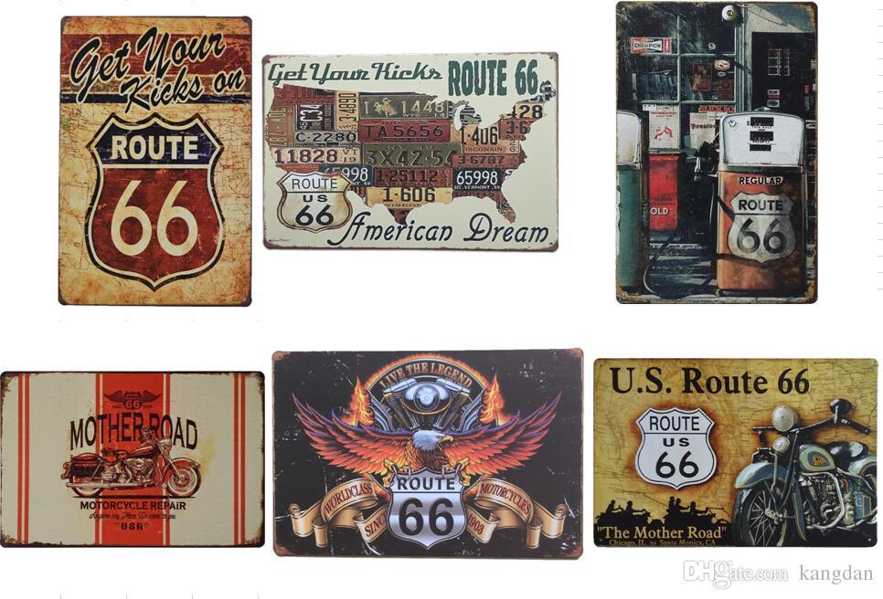 26 estilo Adquira Seus Chutes na Rota 66 sinais de estanho Velho Parede Pintura De Metal ART Bar Homem Caverna Pub restaurante decoração da sua casa cartaz de parede