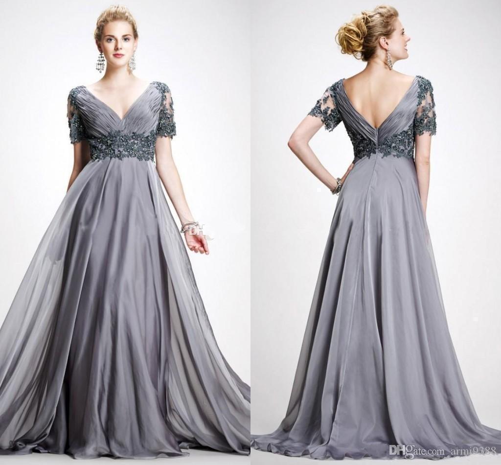 Элегантный серый мать невесты Платья длинные V образным вырезом с коротким рукавом платья матери формальные Weding платье знаменитости платья плюс размер