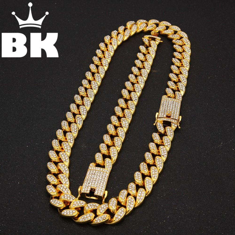 2 см хип-хоп золотой цвет обледенелый Кристалл Майами кубинская цепь золото серебро ожерелье браслет горячий продавать хип-хоп король