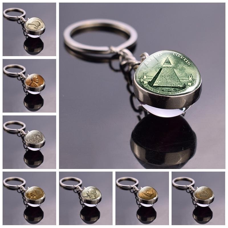 All Seeing Eye Key Chain Illuminati Dollar Bill Jewelry Pyramid Double Sided Glass Ball Keychain Coin Keys Fashion Accessories