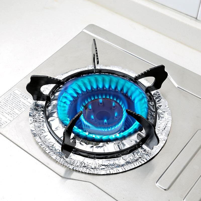 10pcs Ensemble feuille d'aluminium Tin Foil huile Nettoyage Tapis de cuisine Outils gaz Poêle Protecteurs Couverture Trivets Liner