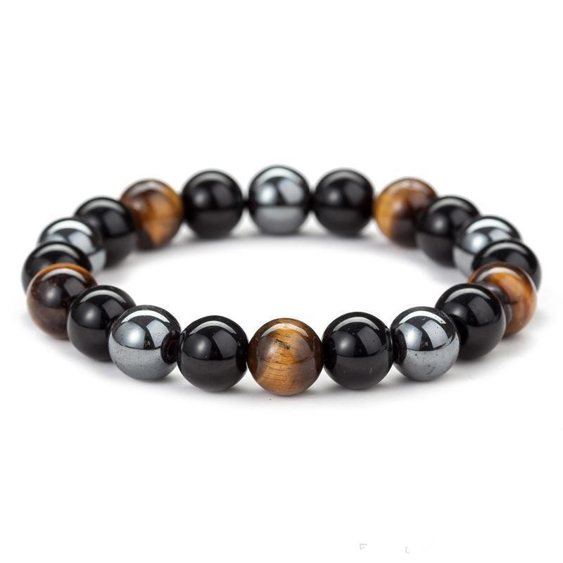 Natural Black Onyx Com Pedra Natural Hematita pedra Tiger Eye Beaded Strand Enrole Buddha BraceletsBangles Jóias Acessórios