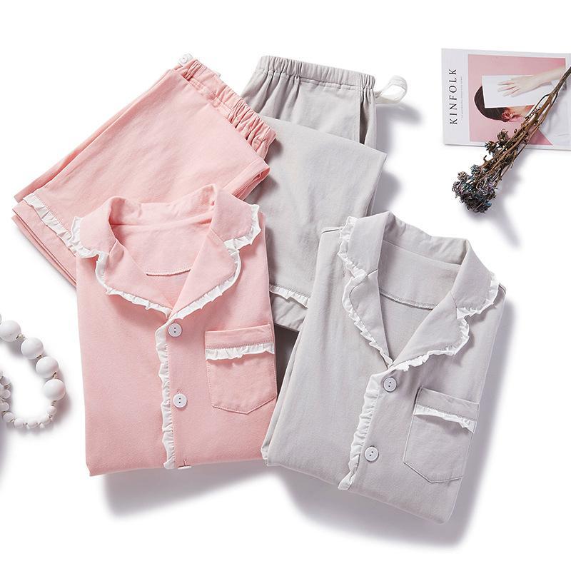 2020 Mode printemps coton Pyjama d'allaitement Pyjamas manches longues pour vêtements de nuit Set Femmes enceintes Grossesse Pyjama