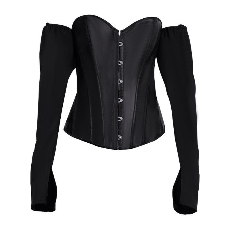 Retro Vintage Slash Boyun Korse Seksi Kapalı Omuz Kadınlar Gotik Bluz Lolita Kulübü Partisi Uzun Kollu Gömlek Backless Gömlek Tops