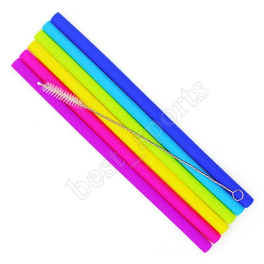 Reutilizável Silicone Beber Set Straw Keychain Palha Com Escovas de limpeza Bar Partido Box Hetero suco palhas Palhas ZZA1315 120PCS