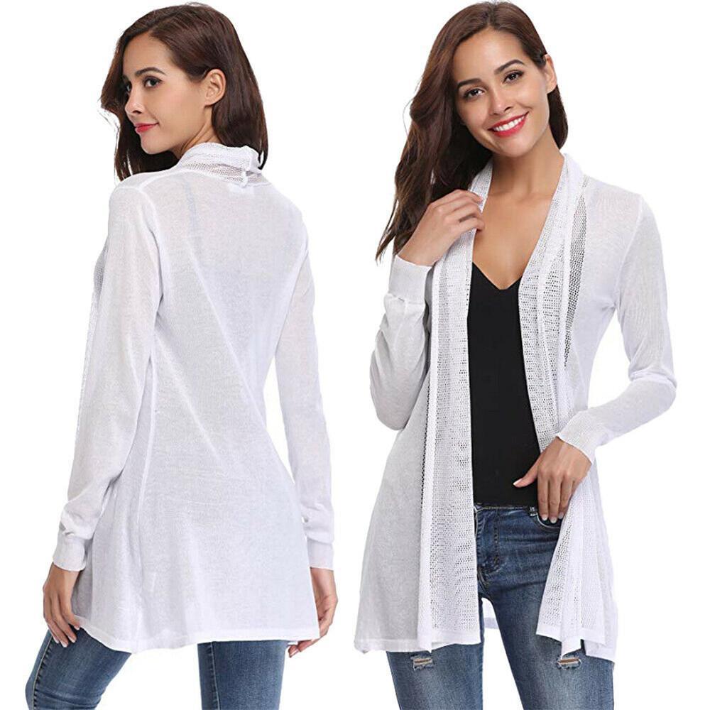 All'ingrosso Mesh-manica lunga anteriore aperto sottile del maglione del cardigan casual Felpa Top 710