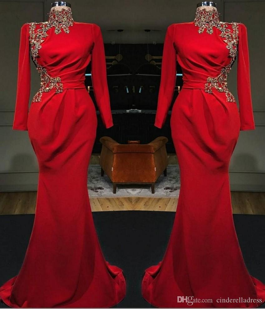 New Tony Chaaya 2020 Lace Appliqued Sheer V Neck Formal Evening Party Gowns See Through Sexy Illusion Red Mermaid Prom Dresses BC2472
