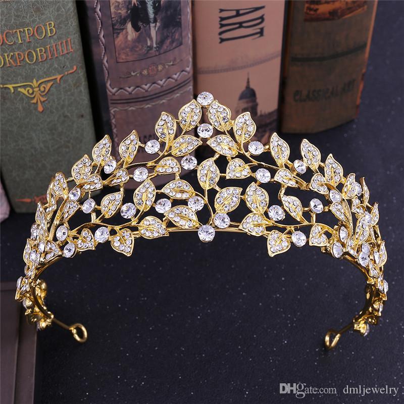 Korean Bridal Crowns Hairbands Wedding Tiaras Headbands Crystal Women Birthday Party Princess Diadem Leaf Crown Wedding Hair Accessories