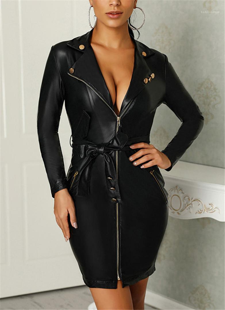 Bow Bind Womens Designer PU-Kleid beiläufige Frauen Kleidung der reizvollen Frauen beiläufige Kleider Mode Unregelmäßige Zipper Panelled