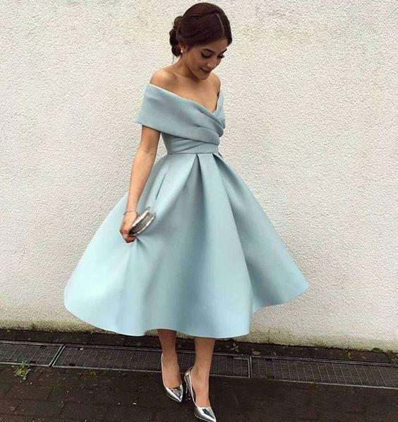 Omuz Diz Uzunluk Saten Backless 2020 Arapça Ucuz Gelinlik Giydirme Balo Kokteyl Önlükler Custom Made Kapalı Modest Kısa Parti Elbise