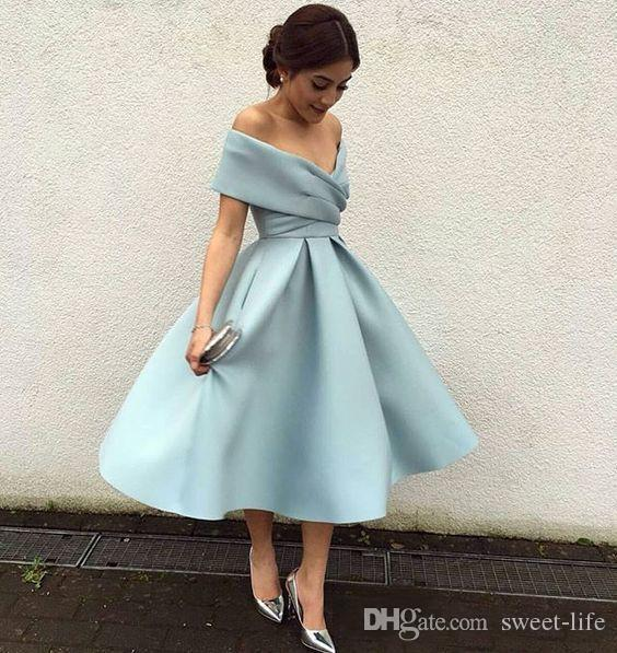 Modest Short Party Dresses Off the Shoulder Knee Length Satin Backless 2020 Arabic Cheap Bridesmaid Dress Prom Cocktail Gowns Custom Made
