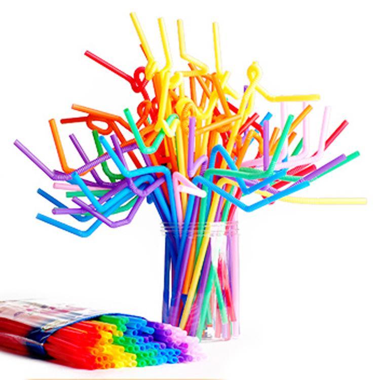 Paquete de 100 10.23 pulgadas Pajas de beber flexibles extralargas coloridas altas Tall Pajas de beber de plástico desechables flexibles