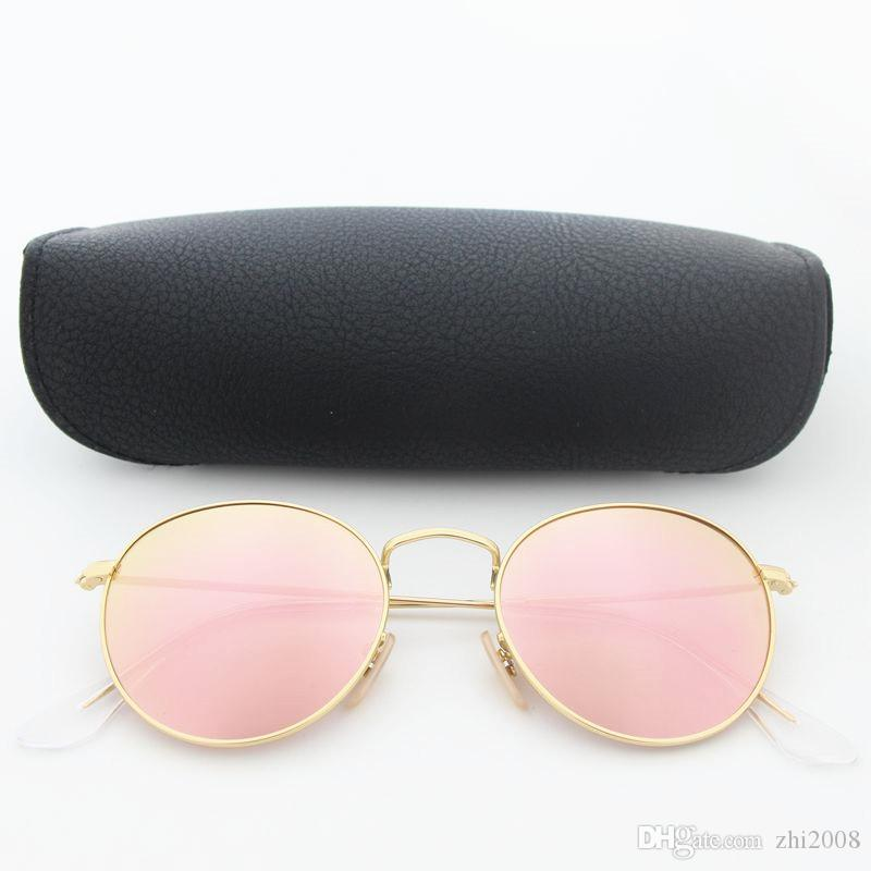 New Classic Round Driving Sunglasses For Men Women gold metal frame pink glass 50mm lens Vintage sun glasses With case