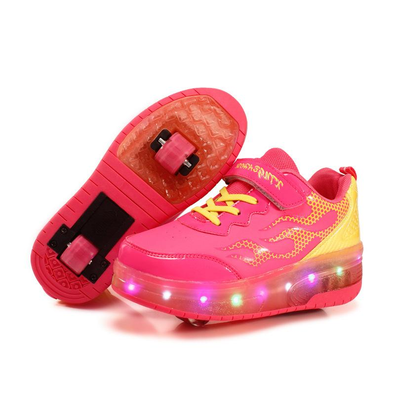 RISRICH Kids LED roller sports shoes glowing light up luminous sneakers with wheels kids rollers skate pink shoes for boy girls Y200623