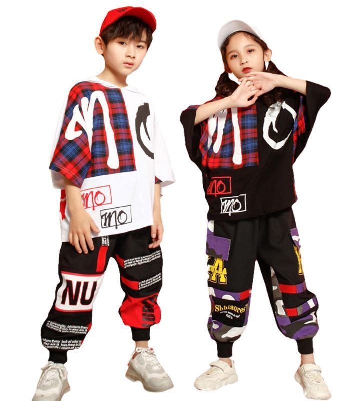 Niños unisex con capucha a cuadros Imprimir camiseta jogging traje de pantalones Niños Pantalones Cargo Hip Hop juego de ropa de la calle traje de la danza para niñas