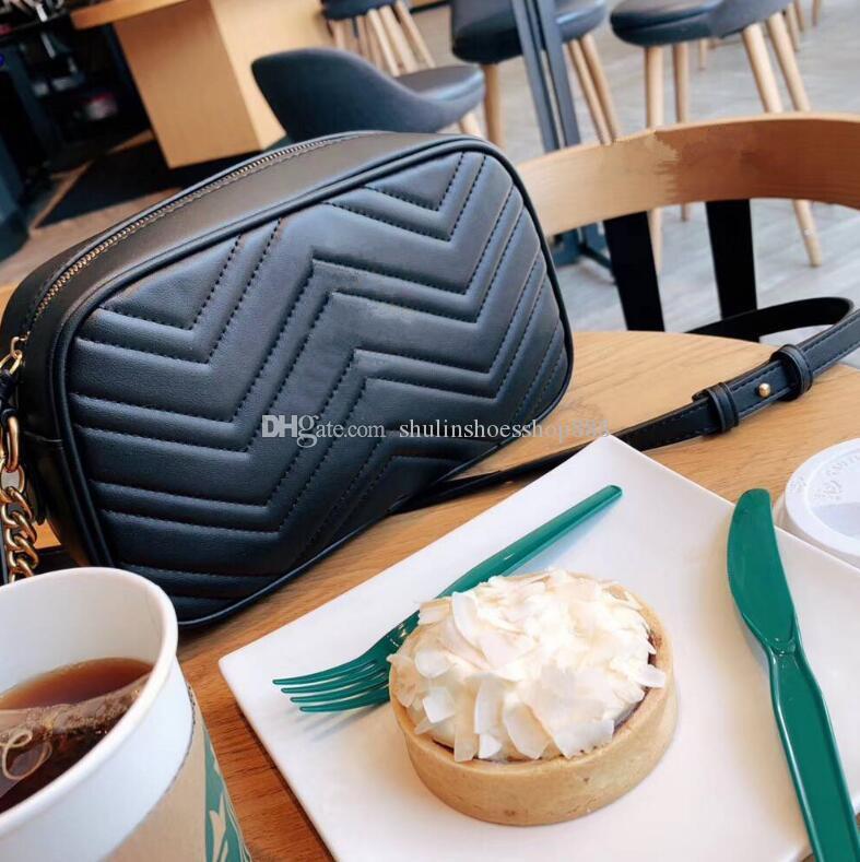 Klasik deri omuz çantaları crossbody kamera çantaları moda küçük kare çanta kılıf desen kadın haberci çantası Marmont çanta dalga