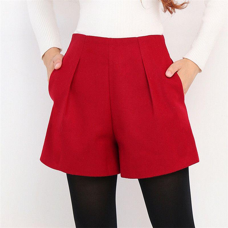 WKOUD Inverno Para Mulheres Lã Botas Shorts doces colorem Zip Up solto Calças Curtas com bolsos Feminino Casual Wear DK6155 Y200519