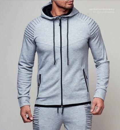 Macho da aptidão Magro Roupa Primavera Outono Hoodies Para Mens Sports Cardigan Dobre Moletons