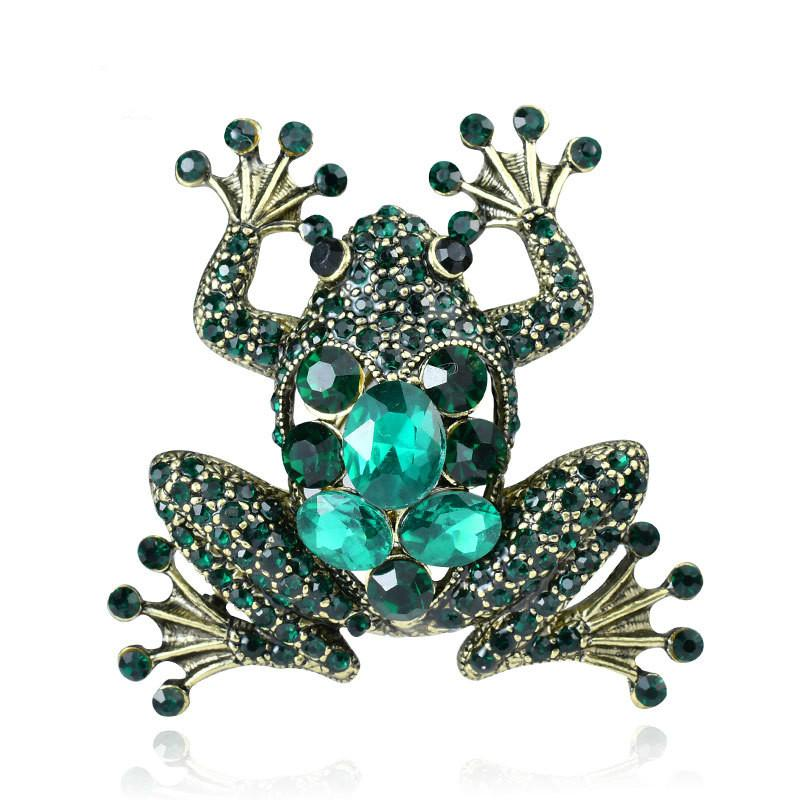 High-grade retro frog brooch green crystal diamond animal brooch European and American hot-selling jewelry factory direct sales