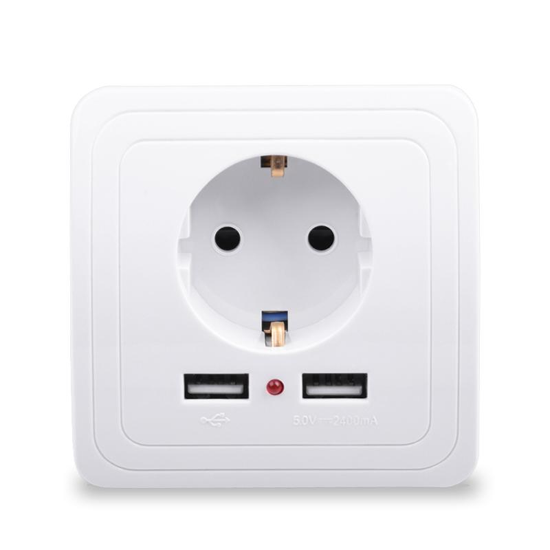 Dual USB Wall American Socket Charger Power Adapter Plug Outlet Plate Panel  NEW