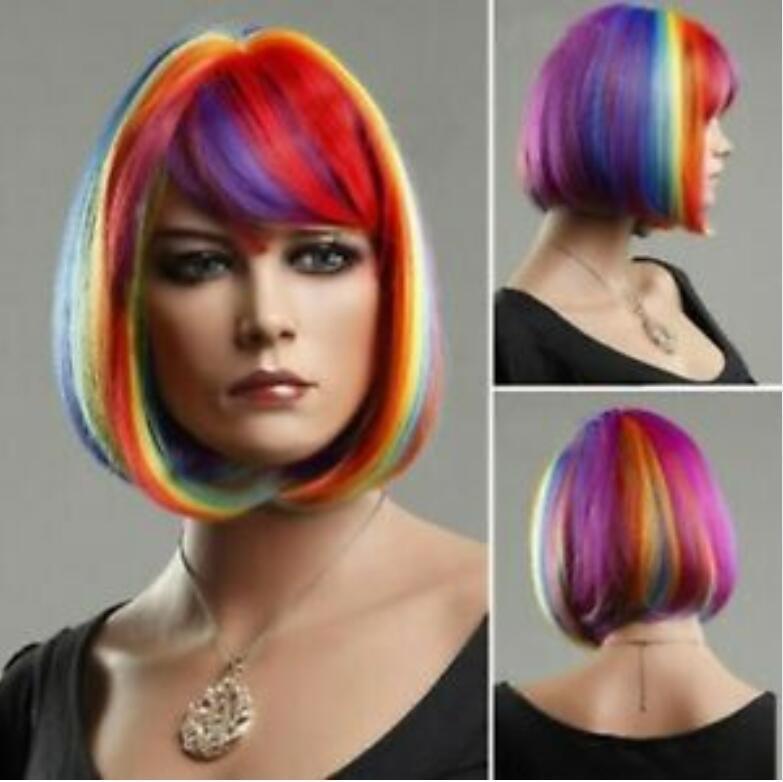 Details über Frauen-Perücke Kurzmehrfarbenregenbogen Gerade BOB Cosplay Partei-Haar-volle Perücke