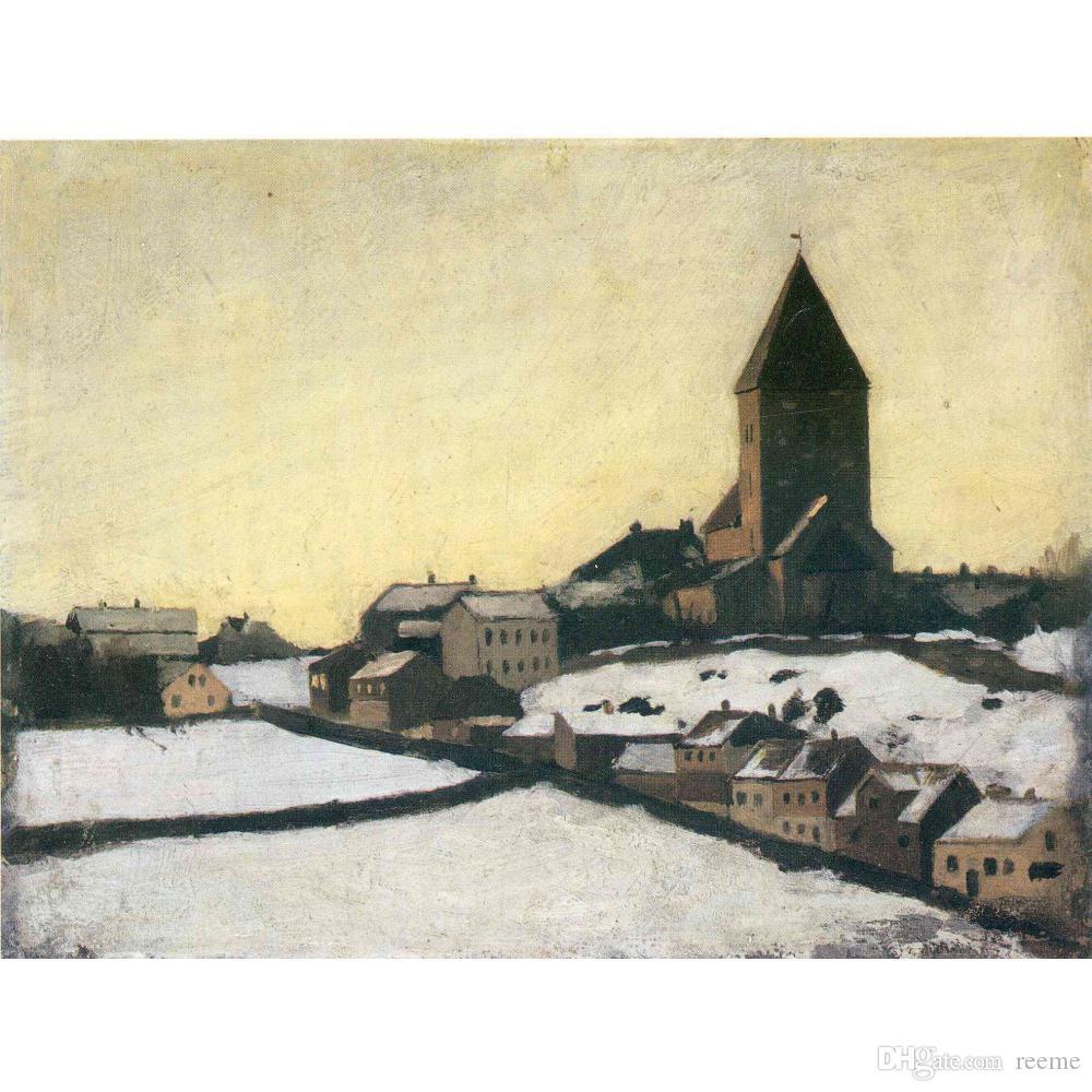 Edvard Munch paintings Old Aker Church modern artwork oil on canvas Handmade art Gift