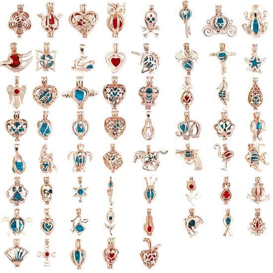 171 projetos 18 k medalhão gaiolas desejo amor pérola / gem contas oyster colar de pérolas montagens diy pingentes pérola gaiola pingente moq 100 pcs