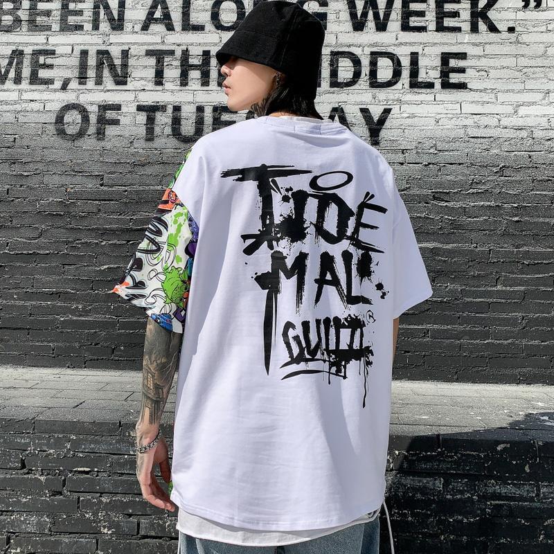 2020 printemps et d'été Nouveau Hip Hop Hiphop manches demi T-shirt des hommes Lettre européenne et la marque américaine populaire impression en vrac à manches courtes