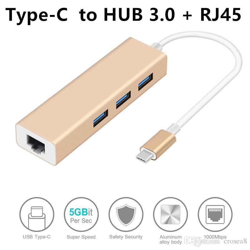 aluminium alloy 3 Ports USB 3.0 Hub USB 3.1 Type-C Male To Gigabit Ethernet LAN Network RJ45 Adapter For Macbook USB-C Enabled Devices