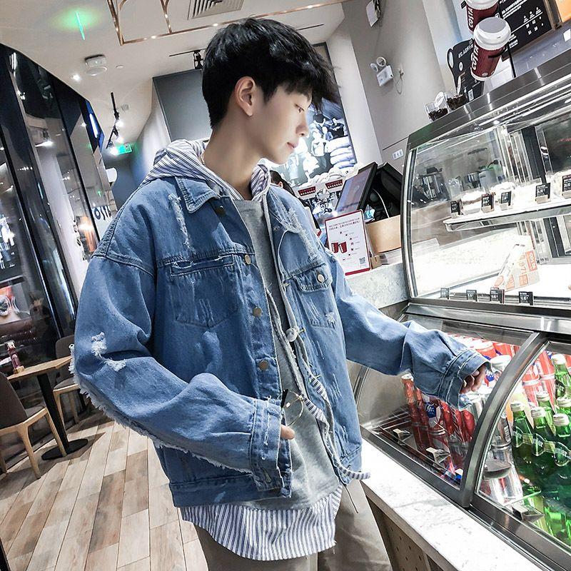 청바지 코트 남성 봄과 가을 한국 스타일의 트렌드 자켓 잘 생긴 느슨한 맞춤 의류