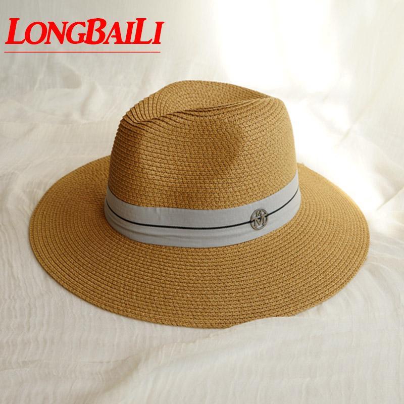المرأة الصيف على نطاق واسع بريم سترو فيدورا قبعات مع رسائل Chapeu Feminino الشمس شاطئ قبعات SDDS127