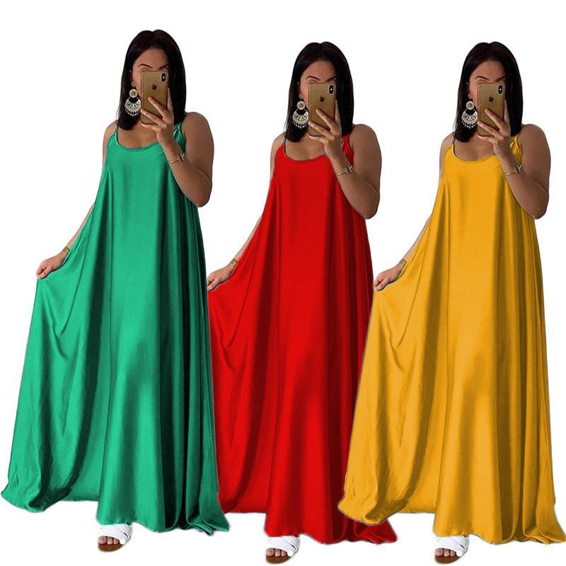 Summer Women Maxi Beach Dresses Ankle Length Long Dress Oversize Solid Satin Adjustable Spaghetti Straps Sleeveless Loose Dress Yellow Green