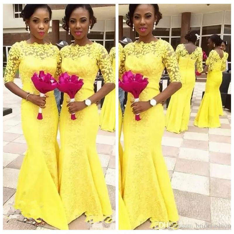 Yellow Mermaid Bridesmaids Dresses 2019 Black Grils Jewel Neck Cheap Illusion Country Half Sleeves Lace Applique African Wedding Guest Gowns