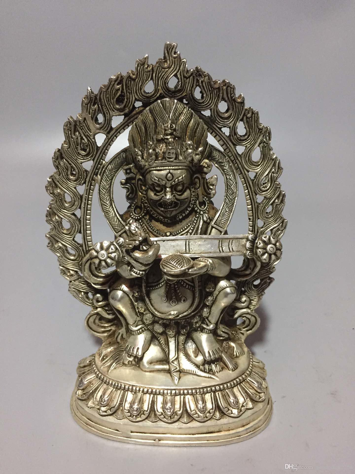Rare statue de Bouddha Tibétain en argent sculpté à la main