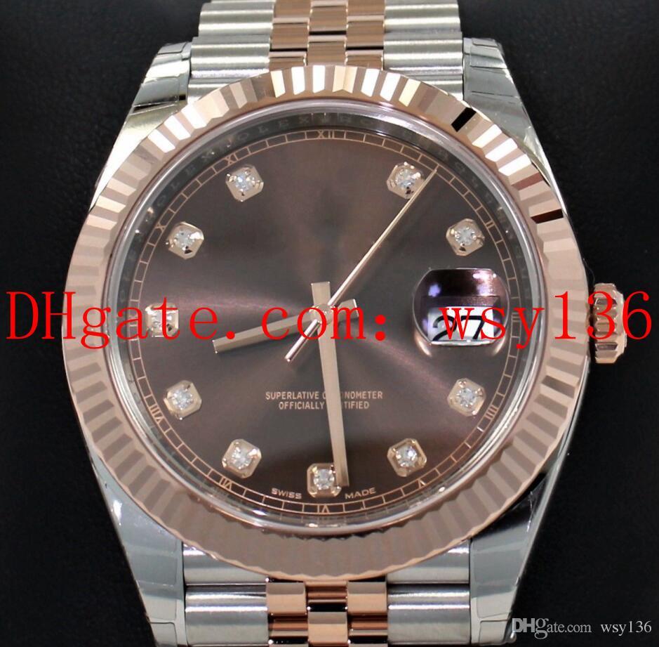 럭셔리 높은 품질 남성 손목 시계 DATEJUST 126331 축제 18K 로즈 골드 다이아몬드 다이얼 41mm 자동 기계 운동 남성 시계