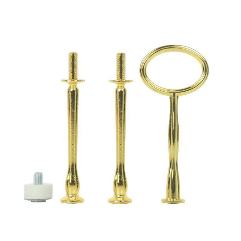 새로운 모양 타원형 모양 금속 도매 장식 용품 금 결혼식 미니 3 계층 케이크 스탠드 피팅