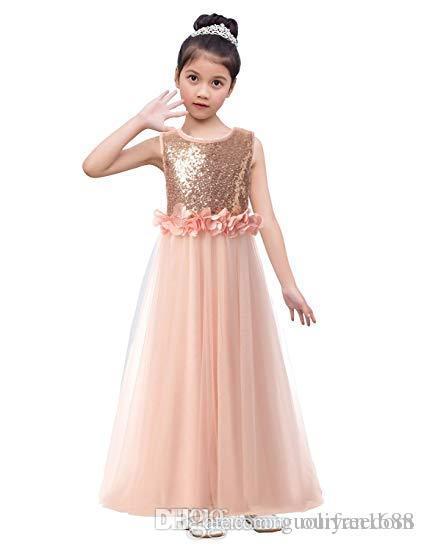 Gerçek Görüntü 2019 Allık Pembe Tül Çiçek Kız Elbise 3D Flora Aplikler Kat Uzunluk Fermuar Geri İlk Communion elbise