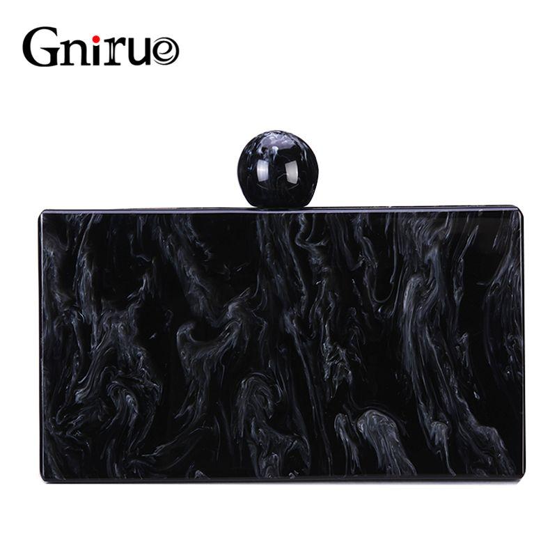 New Black Marble Muster Acryl-Abend-Taschen Vintage Handtaschen-Frauen-Kurier-Beutel Partei-Abschlussball Hochzeit Gelegenheits Clutch