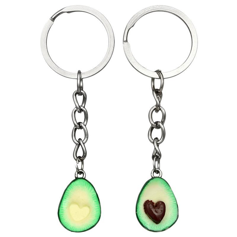 Cute Green Avocado Friendship Keychain Set Hearts Asymmetric Bff
