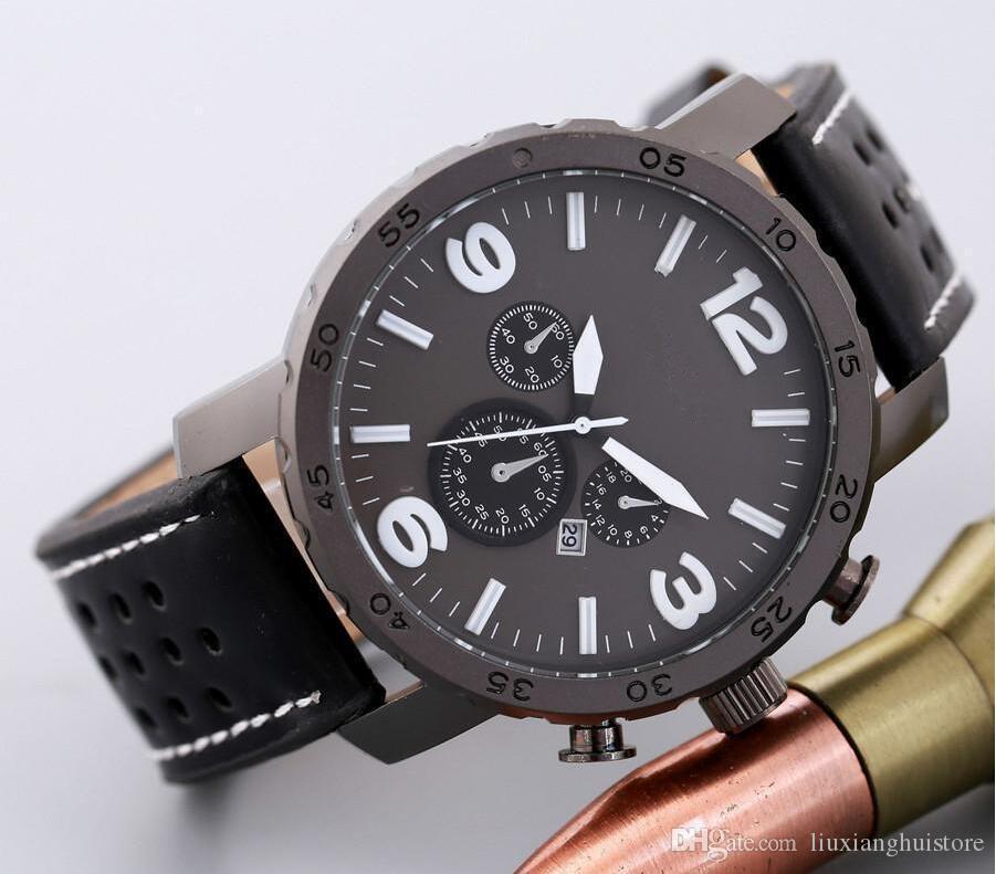 Casual Sportuhren für Männer Blau Militär Leder Armbanduhr Mann Uhr Mode Chronograph Armbanduhr