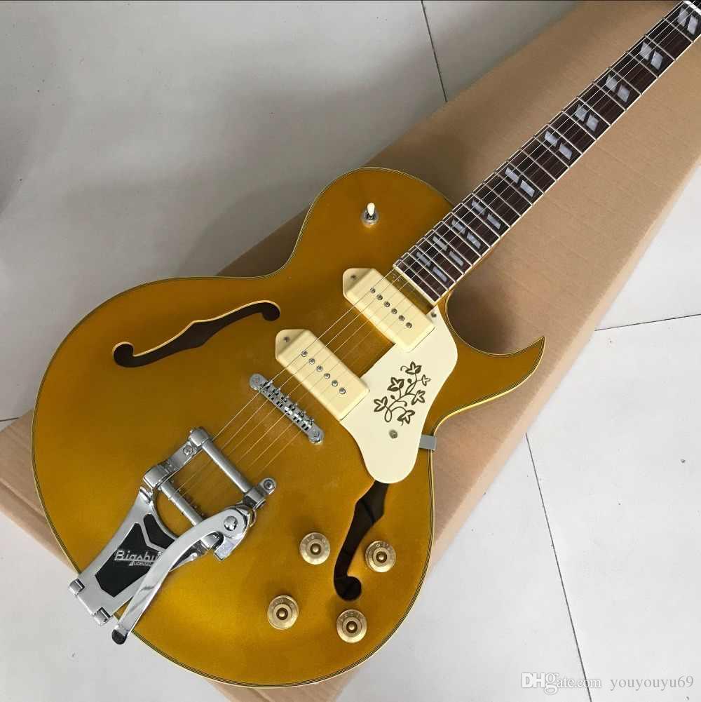 Fabrik benutzerdefinierte Direktverkauf neueste Ankunft ES-295 Hohlgitarre Goldtop E-Gitarre WithBigsby bietet Anpassung