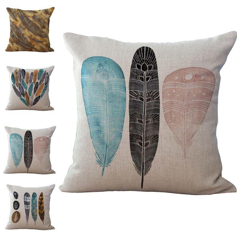Bird Feather Pillow Case Cushion cover Linen Cotton Throw Pillowcases Home sofa Bed Pillowcover Drop Ship 240524