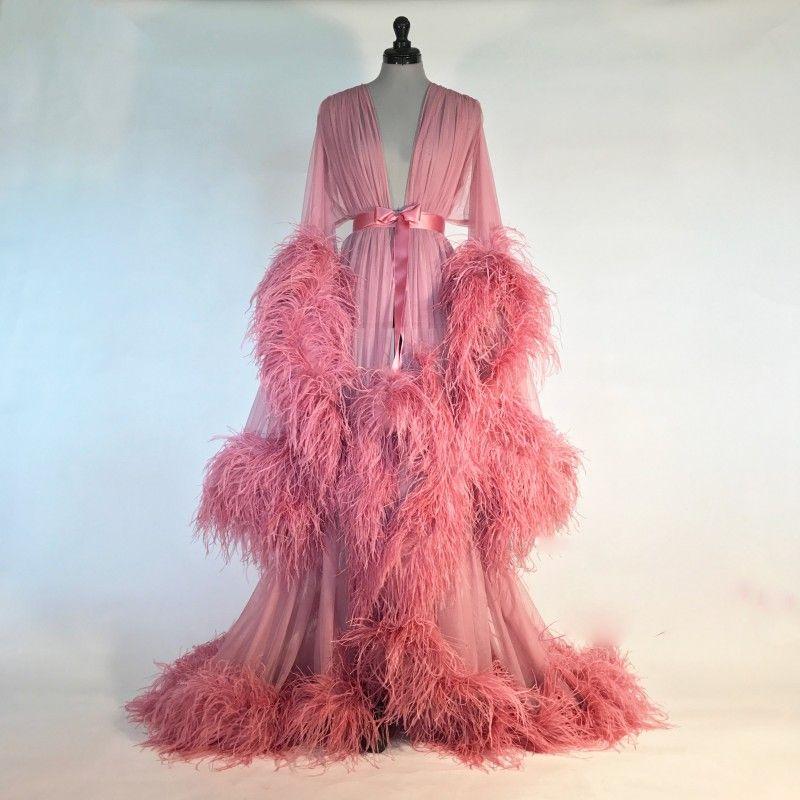 Розовое ночное платье из страусиных перьев невесты пижамы халаты 2020 сшитое с длинными рукавами халат женщины сексуальные пижамы платья