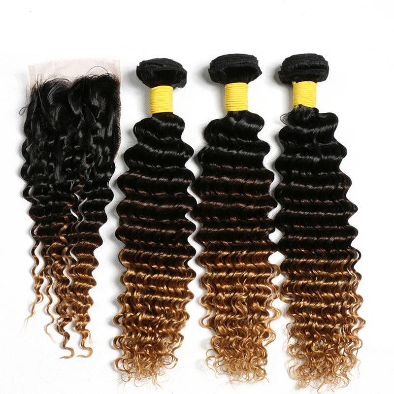 جميل أومبير اللون #T 1B / 4/27 موجة عميقة ريمي الإنسان لحمة الشعر 3 نسج حزم مع 4x4 الدانتيل إغلاق