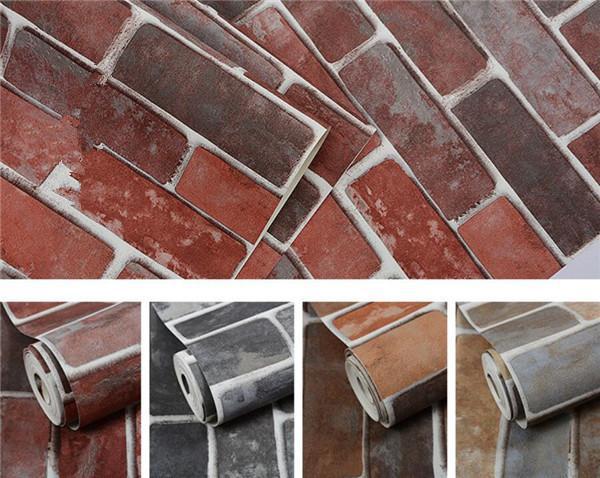 10Mx 53cm 소박한 빈티지 3D 가짜 벽돌 벽지 롤 비닐 PVC 레트로 산업 로프트 벽 종이 레드 블랙 그레이 옐로우 세척