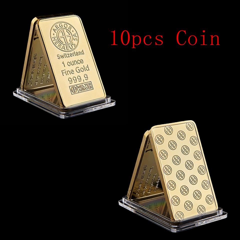 10pcs Switzerland Argor-Heraeus SA Melter Assayer Gold Bullion Bar 1 Ounce Fine Gold 999.9 Bar with Acrylic Case For Collection