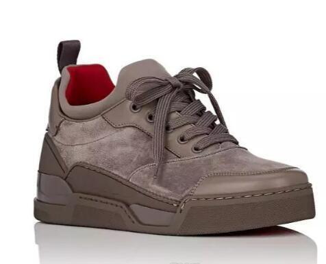 2019 الشهيرة مصمم أحذية للرجال زفاف أحمر أسفل حذاء حذاء رياضة الرجال أوريليان شقة حذاء رياضة منخفض كبار المدربين من جلد الغزال المشي في الهواء الطلق حذاء رياضة