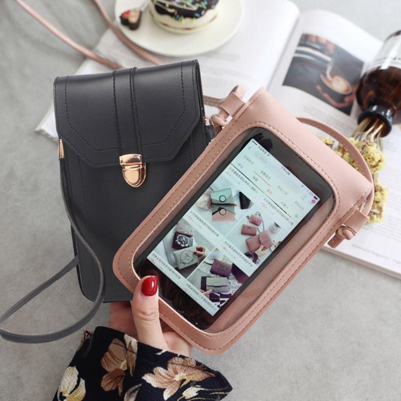 45 # мешки плеча Мини Мобильный телефон сумка с Back Side Clear Касание экрана окна кожаный мешок сзади прозрачным сенсорным экраном