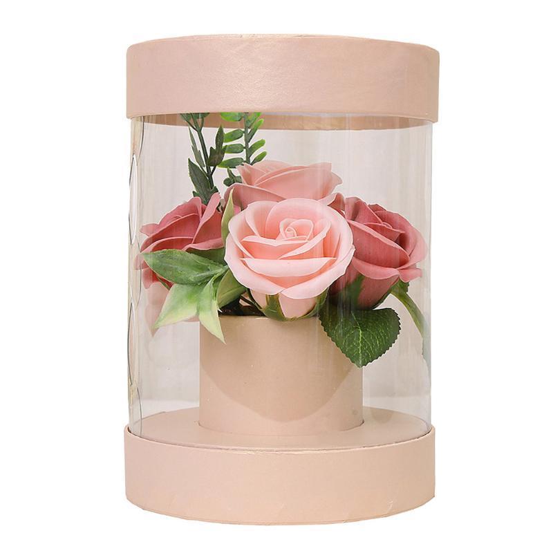 Rose Soap Flower Clear Pvc Round Box Bouquet Pollen Allergy Gift Artificial Flower Soap Rose Gift Box Home Office Decor New #LR3