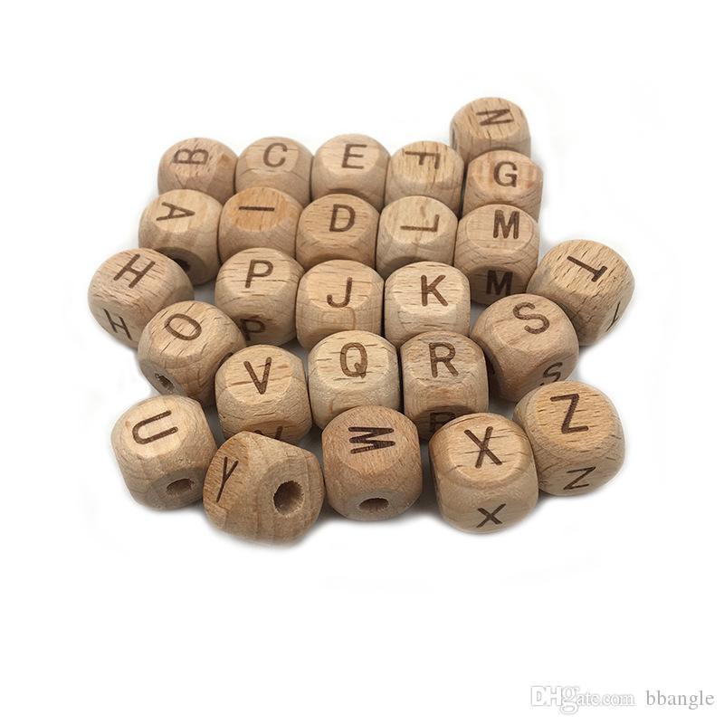 Alfabeto de madeira 12 milímetros Beads Beech cubo de madeira da letra A a Z dentição DIY Jóias Alfabeto Beads Bebê mordedor